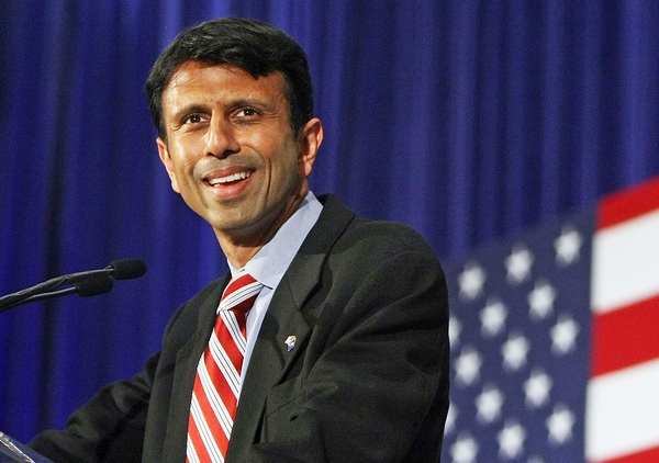 KENNER, LA - JUNE 03:  Louisiana Governor Bobby Jindal speaks at an event with Republican presidential candidate and U.S. Senator John McCain (R-AZ)  at Pontchartrain Center June 3, 2008 in Kenner, Louisiana. McCain was expected to recognize Democratic presidential candidate Barack Obama as the party's presumptive nominee in his speech.  (Photo by Mario Tama/Getty Images)