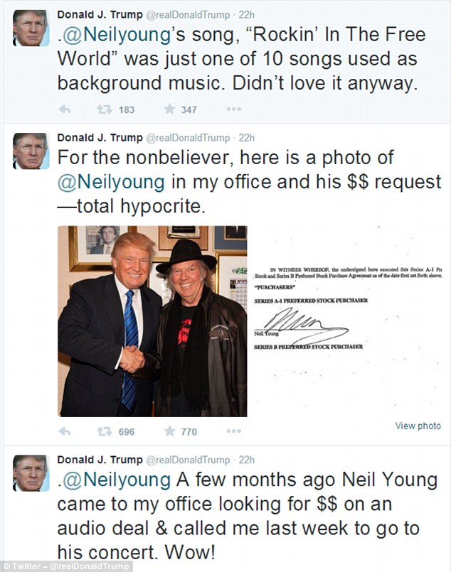 Trump Tweets about Neil Young