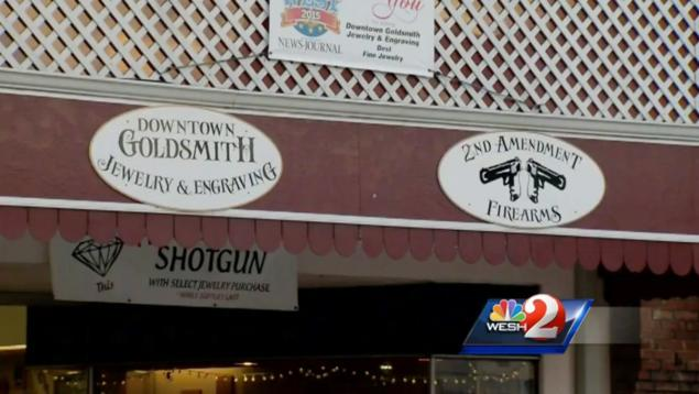 Deland's Downtown Goldsmith Jewelry and Engraving is offering a free 12-gauge shotgun with purchase.
