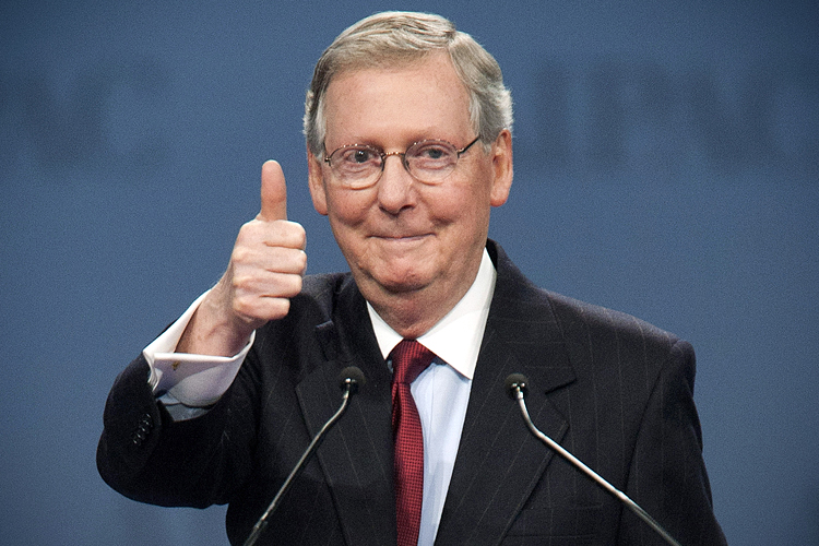 Senate Minority Leader Mitch McConnell (R-KY) gives a thumbs up after speaking to the American Israel Public Affairs Committee (AIPAC) policy conference in Washington March 5, 2012. REUTERS/Joshua Roberts (UNITED STATES - Tags: POLITICS) - RTR2YWBC