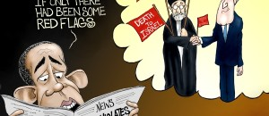 Stupid Obama Can't See Iranian 'Red Flags' | Political Cartoon